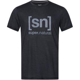 super.natural Logo T-shirt Heren, jet black melange/vapor grey logo